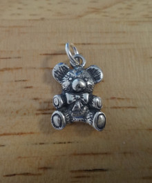 Sterling Silver 15X10mm Teddy Bear with Bow around neck Charm! concave back