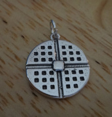 Sterling Silver 19x17mm Realistic Waffle with pat of butter on top 3.5gram Charm