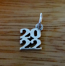 Sterling Silver 10x11mm Stacked College High School Graduation 2022 Charm