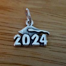 Sterling Silver 14x12mm College High School Graduation 2024 with Cap Charm