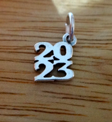 Sterling Silver 10x11mm Stacked College High School Graduation 2023 Charm