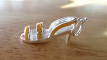 Sterling Silver 3D 20x7mm Yellow Enamel Straps on Sandal Shoe Charm