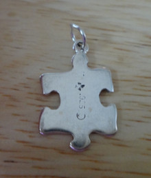 Sterling Silver 22x13mm Puzzle Piece Awareness or Game piece Hobby Charm