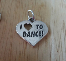Sterling Silver 18x18mm says I Love (Heart) To Dance Dancing Charm