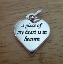 """13x16mm Sterling Silver Heart say """"a piece of my heart is in heaven"""" Grief Funeral Charm"""