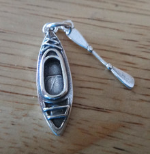 Sterling Silver Movable 3D 10x28mm Detailed Boat Kayak & Paddle Charm