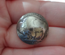 1 Sewing 21mm US 5 cents Buffalo Indian Head Nickel made into Real Silver Button