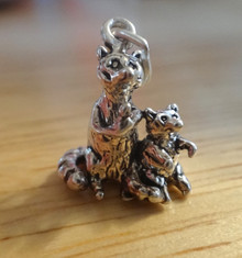 Silver 3D 16x14mm Detailed Double Raccoon & Baby Zoo Racoon Charm
