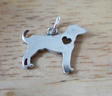 Sterling Silver 16x12mm Love Lab Labrador Retriever Dog with cut out Heart Charm