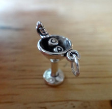 Sterling Silver 3D 18x14mm Martini with 2 Olives on Pick Glass Charm