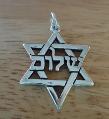 Sterling Silver 22x22mm Star of David says Shalom in Hebrew Charm