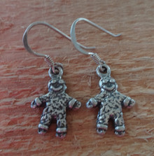 Sterling Silver 3D 18x12mm Christmas Gingerbread Man charm Earrings on wires