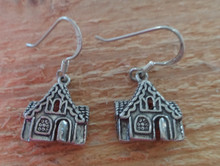 Sterling Silver 16x13mm Gingerbread House Christmas Charm on Earring Wires