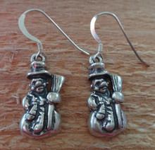 Sterling Silver 21x10mm Snowman Christmas Holiday Charms on Earring Wires