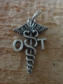 Sterling Silver 11x21mm Occupational Therapy OT on medical caduceus Charm!