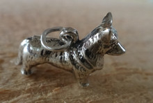 Sterling Silver 3D 21x12mm 4gram Pembroke Welsh Corgi Dog Charm