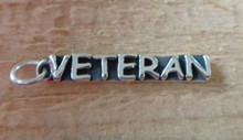 Sterling Silver 4x25mm says Veteran Military Marines Army Navy Air Force Charm
