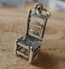 Sterling Silver 3D 12x22mm Ladder Back Chair with Cane Weave seat Charm