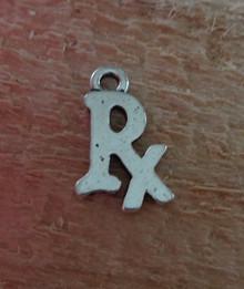 Silver Pewter 10x15mm Pharmacy Pharmacist says RX Charm!