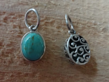 Sterling Silver 3D 9x15mm Reversible Turquoise color stone oval Charm