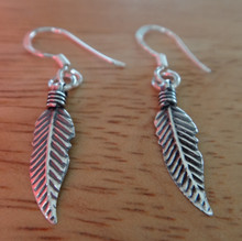 Sterling Silver 30x4mm Feather French Wire Earrings