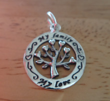 17mm says says My Family My Love Tree Geneology Hearts Sterling Silver Charm