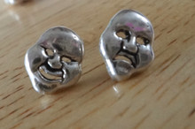 Sterling Silver 10x8mm Small Comedy & Tragedy Studs Post Earrings