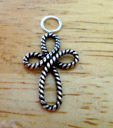 Sterling Silver Small Rope 16mm Infinity Cross Wedding Love Religious Charm