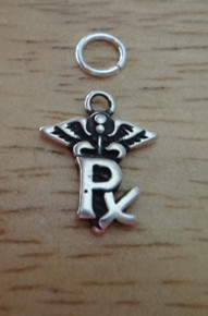 Sterling Silver small 10x13mm says Rx for Pharmacy Prescription Caduceus Charm