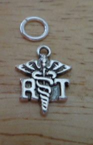 Sterling Silver small 10x13mm says RT for Respiratory Therapy Caduceus Charm