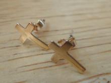 Gold Filled TINY 6x9mm Plain Flat Cross Studs Posts Earrings!