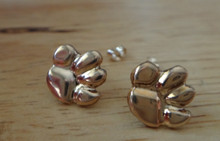Gold Filled Small thin 10x10mm Bear Tiger Dog..Paw Print Stud Earrings
