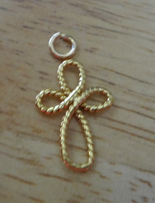 Gold Plated Sterling Silver Rope 16mm Infinity Cross Wedding Love Religious Charm