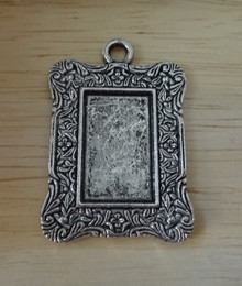 Silver PEWTER 35x25mm Fancy Rectangle Photo Picture Frame Pendant Charm