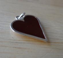 Sterling Silver 20mm Maroon Enamel Heart Card Suit Poker Bridge Card Game Charm