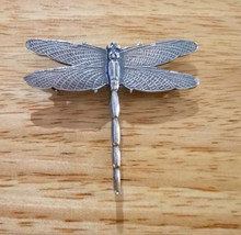 Sterling Silver 3D 45mm 6 gram Dragonfly Charm Pendant and Pin Brooch