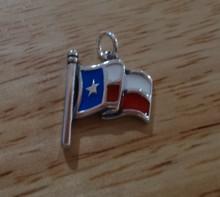 Sterling Silver 15x16mm Red White Blue Enamel Texas State Waving Flag Charm