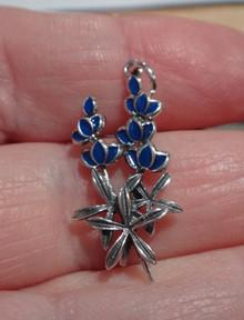 Sterling Silver 10x28mm Blue Enamel Texas State Flower Bluebonnet Charm