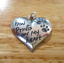 Sterling Silver 28x26mm Large Memory Remembrance Dog says Paw Prints on my Heart