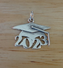 Sterling Silver 16x19mm College High School Graduation 2023 with Cap Charm