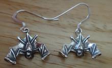 Sterling Silver 3D 18x18mm Halloween Vampire Bat Charm Earrings on 15mm wires