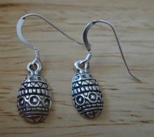 Sterling Silver Fancy Ukrainian style Decorated Easter Egg Charm Earrings