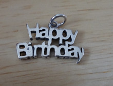Sterling Silver 17x11mm says Happy Birthday Word Charm