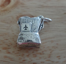 Sterling Silver 15x13mm 4.5g Travel Carry on Luggage Suitcase Airplane Jet Charm