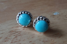Sterling Silver 8mm Round 5mm Turquoise Stone Navajo Handcrafted Stud Earrings