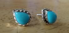 Sterling Silver 7x10mm Teardrop Turquoise Stone Zuni Handcrafted Stud Earrings