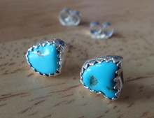 Sterling Silver 6x7mm Natural Turquoise Stone Navajo Handcrafted Stud Earrings