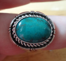size 8 Sterling Silver 17x20mm Navajo Blue Green Turquoise 4mm wide band Ring