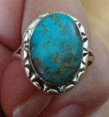 size 10 Sterling Silver 15x18mm Navajo oval Blue Turquoise 3mm wide band Ring