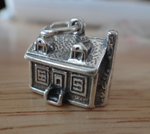 Sterling Silver 3D 12x11x14mm HEAVY 8 gram 2 Story House Home Chimney Charm